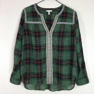 J. Crew green plaid embroidered pop over shirt